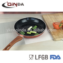 Gold metallic marble coating frying pan with induction