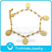 Nueva joyería Rosario pulsera religiosa Mary Charm chapado en oro pulsera venta al por mayor brazalete pulsera de joyería de acero inoxidable