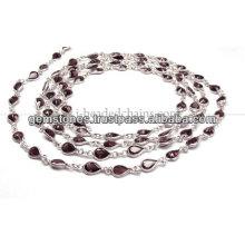 Pear Cut Bezel Beaded Chain, Wholesale Garnet Gemstone Bezel Jewelry Supplier