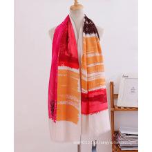 Listra impressa algodão mulheres moda lenço longo (yky1120)