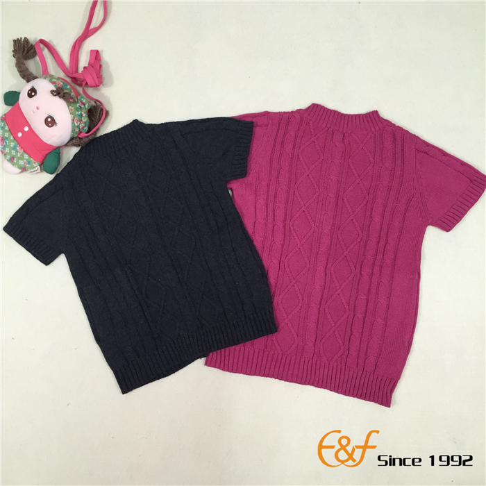 Short Sleeves Cable Sweater