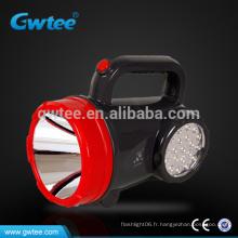Éclairage puissant anti-projecteur extérieur rechargeable avec éclairage latéral