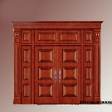 solid wood double entry door wrought iron with good quality door head