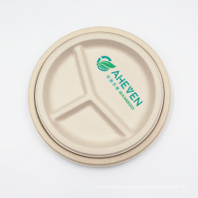 Heavy Duty Disposable 3 Compartment Round Food Plates Bagasse For Restaurant, Party