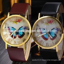 2014 Excellent bracelet en cuir pour femme Fashion Butterfly Style Analog Quartz Wrist Watch