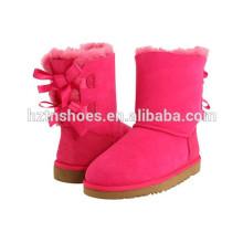 Boots bonitos das meninas com bowknots Bota morna do inverno para miúdos