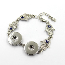 Hamas Hand Evil Eye and Snap Button Silver Bracelet