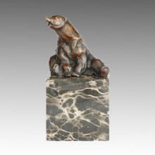 Estatua de animales sentados oso escultura de bronce, Milo Tpal-277