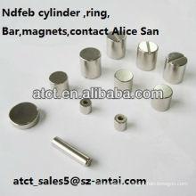 Sintered Customized Permanent Neodymium Cylinder magnets