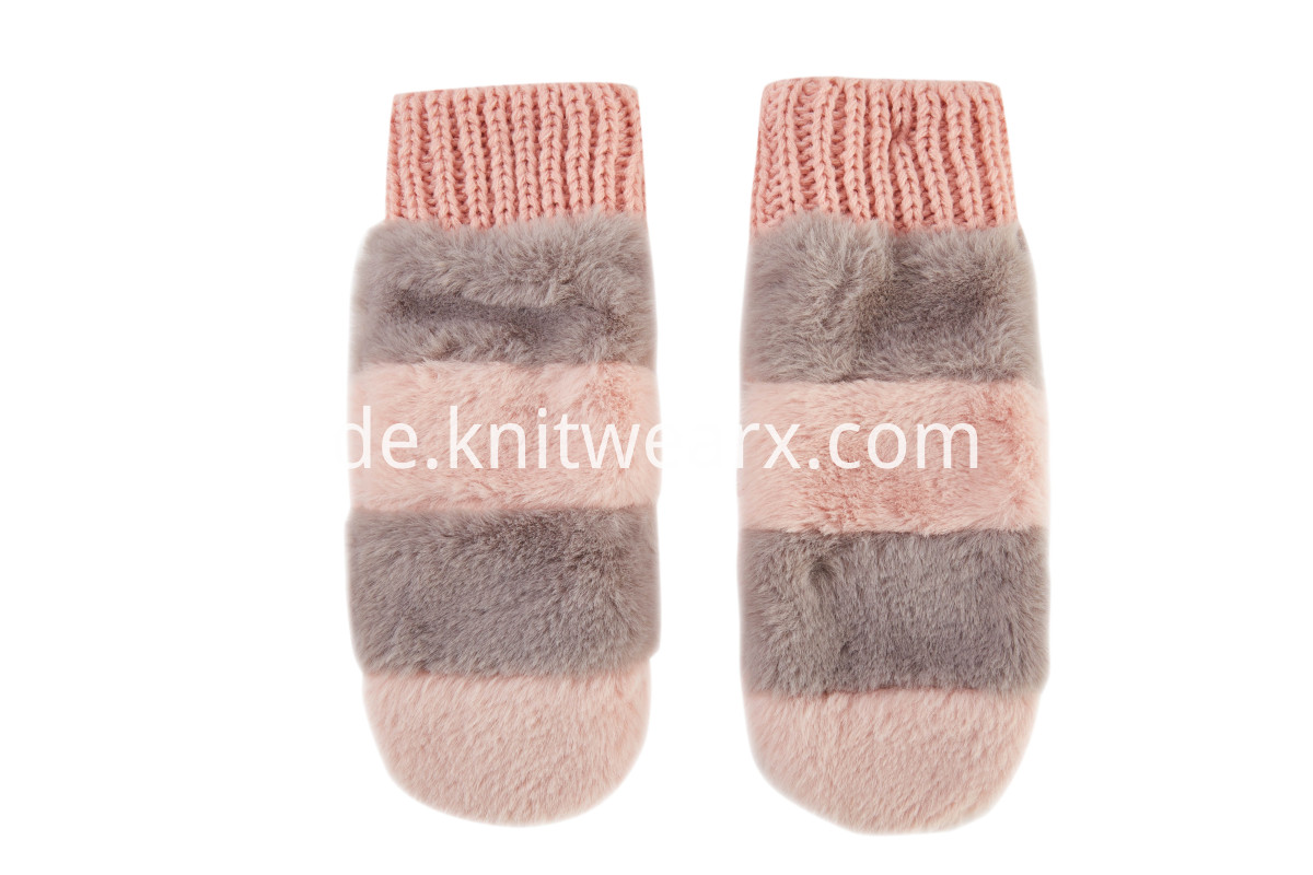 Girls' Winter Warm Mittens Color Block Knit Gloves