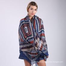 2017 pattern women 100% cotton pashmina shawl scarf