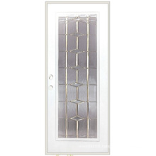 Full Lite Decorative Glass Inserted Utility Steel Door