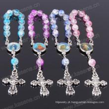 Moda azul mixedcolour grânulos de vidro do rosário religioso