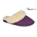 Women′s Sheepskin Slippers with Real Leather
