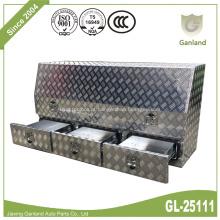 Alumínio da placa do diamante da caixa de ferramentas do caminhão de três gavetas