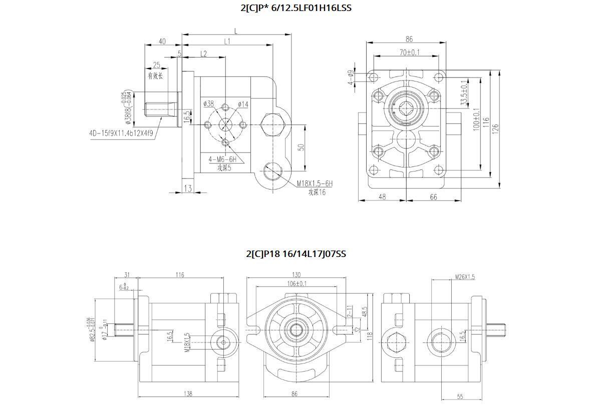 2CP 18 Constant Flow Gear Pumps Dimensions