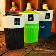 Cadeau Starbucks en céramique avec couvercle, tasse de voyage, tasse en porcelaine avec enveloppement en silicone