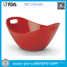 Red Ceramic Dinner Bowl with Chopstick Holder
