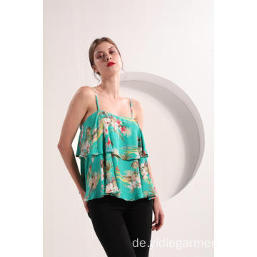 Damen Tiered Floral Print Top