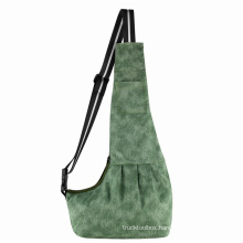 Cats and Dogs Out Green Cloudy Canvas Crossbody Pet Backpack