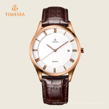 Montre-bracelet à quartz en acier inoxydable pour hommes en cuir mode 72311