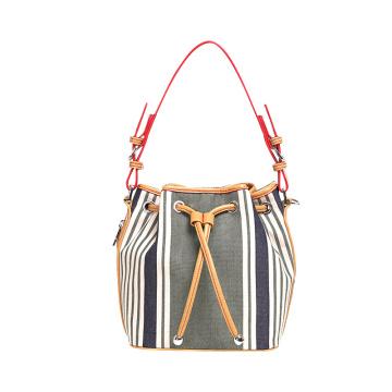 Designers PU Drawstring Handbag Ladies Stripe Bucket Bag Wzx1199