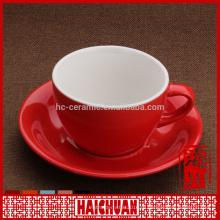 6 унций чашка зеленого цвета и блюдце для кофе / керамическая чашка и блюдце