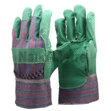 NMSAFETY Green PVC impregnated fabric palm glove