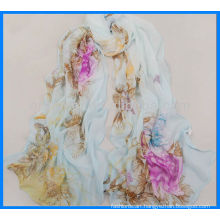 Lady printed satin shawl plain