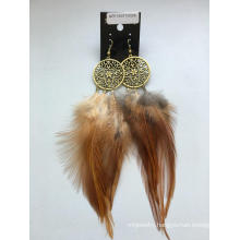Wholesale Brown Feather Earrings with Metal Fashion