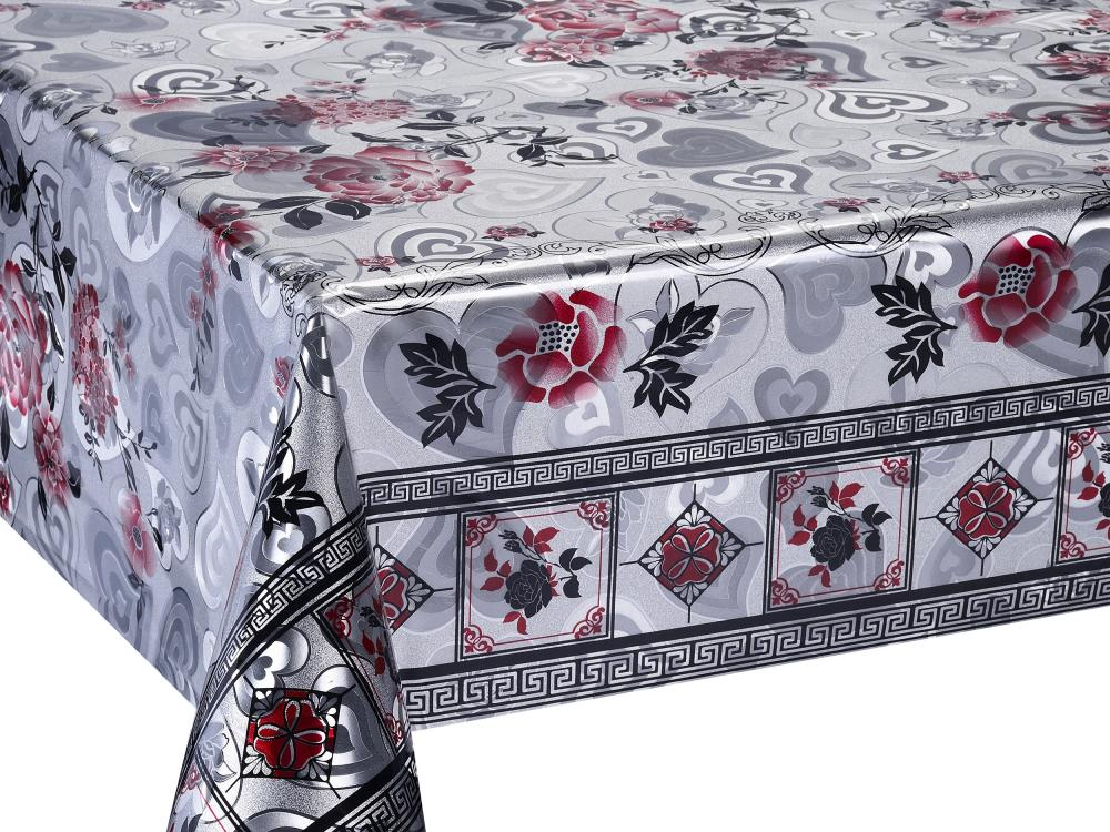 Silver Gold Double Face Emboss Printed Tablecloth