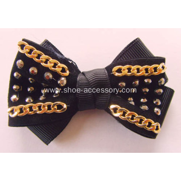 Handmade Double Fabric Hotfix Rhinestone Shoe Flower with Metal Chain