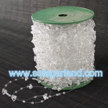 60M/Roll 10+3MM Plastic Crystal Triangle Bead Garland Strand