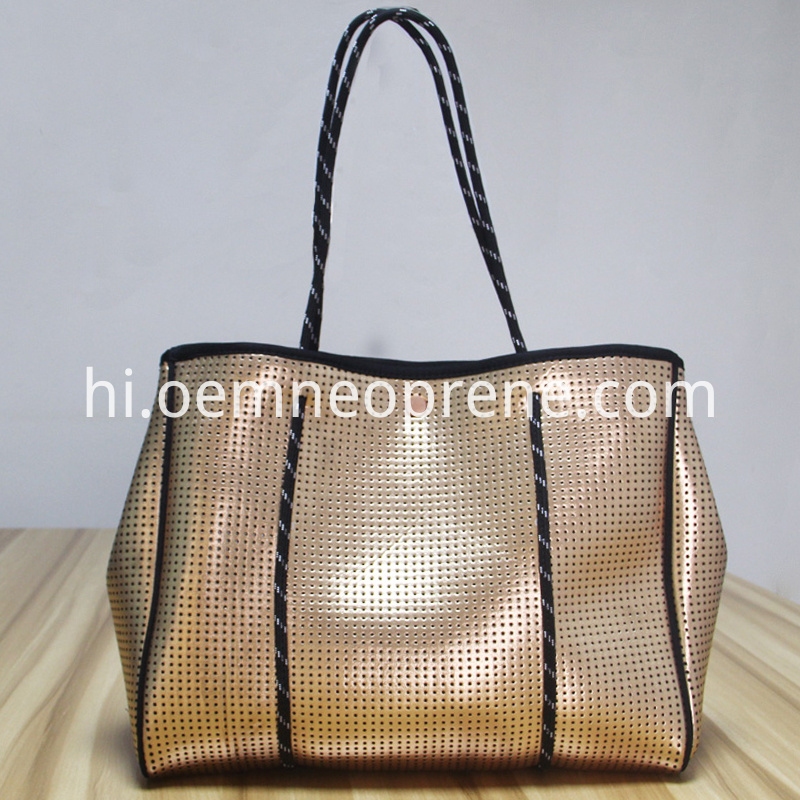 metal color beach bag