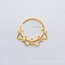 Anillo de nariz perforado del septo de la India del oro plateado, surtidores hechos a mano Septum de la joyería de la nariz de plata del diseñador