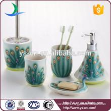 Chinese ceramic peacock green bathroom set