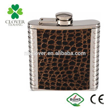stainless steel material 6oz warped laser welding hip flask with patch logo