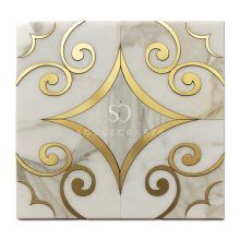 Soulscrafts Calacatta Gold Mixed Brass White Blend Water Jet Marble Mosaic Tile