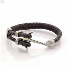 New item 316 stainless steel marine anchor leather bracelet for men