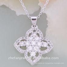 Melhor estilo austríaco Mais novo Design CZ Branco Pedra Colar Set Ródio banhado a jóia é sua boa escolha