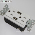 15A 125V Universal duplex socket wall with USB ports outlet