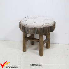 Small Round Wooden Fabric Upholstered Stool