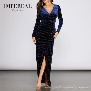 Velvet Heat Stone V Neckline Long Sleeve Split Ball Gowns For Women Evening Dresses