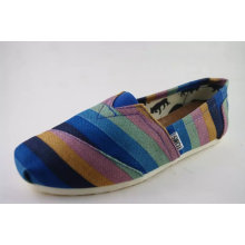 Fashion Strips Print Canvas Flat Casual Shoes for Men (NU003-8)