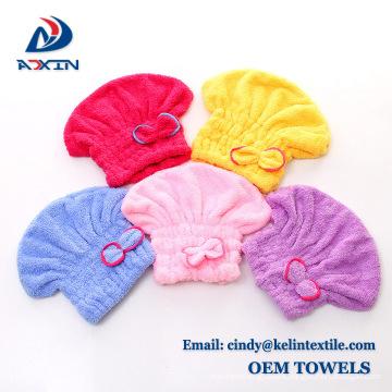 Microfiber hair towel wrap with button fast dying hair cap /turban