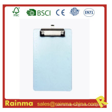 Clear Plastic PS Material Thickness Clipboard with Flat Clip
