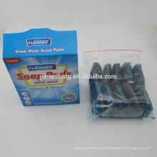2015 nuevo artículo en el mercado de acero inoxidable de lana de pulido almohadilla cocina de alambre de plástico depurador
