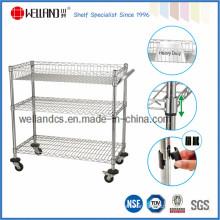 Adjustable Industrial Chrome Steel Wire Shelf Utility Cart (CJ-A1214)
