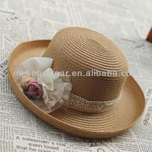 Ladies venta caliente de verano de papel de paja Fedora Hat baratos de venta al por mayor