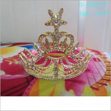 Corona de encargo del rey del oro de la tiara del desfile de la manera de la venta al por mayor